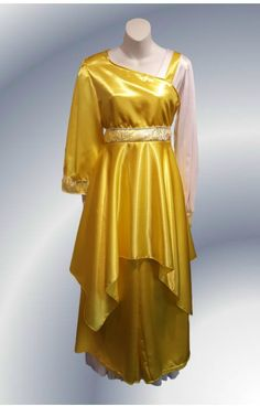 NEW!! YELLOW One Shoulder and Long sleeve Sating with belt and Hankie Hem. Satin Wide Pant displayed. Starts at $75 for the dance top and $25 for palazzo in a set