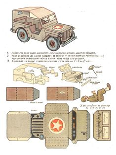 Historic French Paper Jeep Printable Model