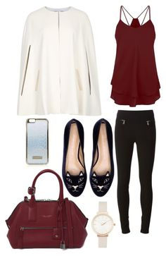 """""""Cream cape and maroon"""" by beautyfoolyou on Polyvore featuring Alice + Olivia, Givenchy, Charlotte Olympia, Marc Jacobs, Olivia Burton and Topshop"""