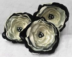 3 Big handmade ivory and black fabric flowers - wedding flowers, sew on appliques, wedding decoration via Etsy