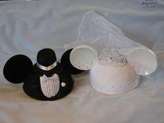 Minnie and Mickey Wedding hats :) for wedding sendoff to Disney cruise honeymoon
