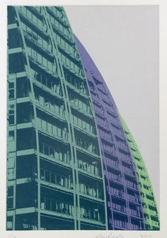 The Quays In Aqua from the Salford Quays Series, by Salford-based printmaker John Pindar. Manchester England, Salford, Printmaking, Screen Printing, Skyscraper, Aqua, Colours, Graphic Design, Portrait