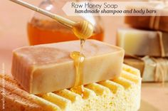 "A Recipe for Raw Honey Shampoo and Body Bars. ""Raw honey and beeswax provide a super effective, germ-killing barrier that improve the health of our skin and hair by locking in moisture and protecting against environmental contaminates."" cp with lye Honey Shampoo, Honey Soap, Shampoo Bar, Body Bars, Soap Recipes, Beeswax Recipes, Raw Honey, Homemade Beauty Products, Diy Products"