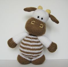 Milkshake the Cow toy knitting pattern - knitted farm animals to knit with this pdf pattern by Amanda Berry at fluff and fuzz. $3.00, via Etsy.