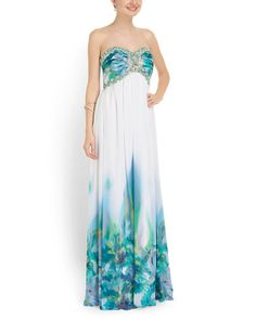 Bejeweled Floral Print Gown