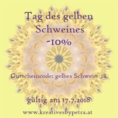 """Feiere mit mir am 17.7. den """"Tag des gelben Schweines""""💛-10% auf alle Schmuckstücke mit einem ausgewählten """"gelben"""" Mandala🔆besuche mich unter www.kreativesbypetra.at  #kreativesbypetra #onlineshop #gutschein #voucher #rabatt #prozente #aktion #geschenk #present #schlüsselanhänger #keychains #lesezeichen #bookmark #ringe #rings #armreifen #armbänder #bracelet #cabochon #cabochonschmuck #achmucksesign #schluckliebe #schmuckkreationen #kreativ  #mandala #gelb #yellow #schwein #pig Voucher, Petra, Bangle Bracelets, Marque Page, Pork, Action, Gift Cards, Yellow, Ring"""