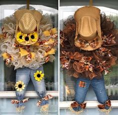 Scare Crow wreaths, perfect for the fall season! Fall Mesh Wreaths, Fall Deco Mesh, Diy Fall Wreath, Wreath Crafts, Deco Mesh Wreaths, Holiday Wreaths, Wreath Ideas, Burlap Wreaths, Autumn Wreaths