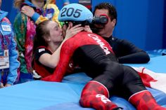 Canada's Charles Hamelin gave his teammate and girlfriend Marianne St-Gelais a big kiss after winning the gold medal in the short-track men's speed skating final. Bizarre News, Big Kiss, Best Kisses, Tough Day, Weird Pictures, Summer Olympics, Team Usa, Olympic Games, Celebrity Gossip