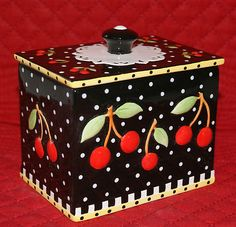 Mary Engelbreit Tea Box Very Cherry 2002 Me Ink Michel Co Signature Engraved Mary Engelbreit, Jessie Willcox Smith, Cherry Delight, Decoupage, Cherries Jubilee, Cherry Kitchen, Pintura Country, Tea Box, Sweet Cherries