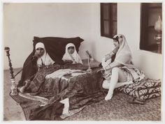 Antoin Sevruguin, Armenian–Iranian photographer (b. Tehran, late 1830s; d. Tehran, 1933): Two Ladies and a Child Reposing in the Harem Late 19th century. Brooklyn Museum
