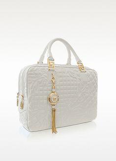 Versace Demetra Vanitas Large White Quilted Leather Satchel | FORZIERI