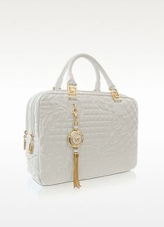 Versace Demetra Large White Quilted Leather Satchel | FORZIERI
