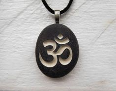 Om Pendant. Om necklace. Tibetan Sanskrit OM Carved Pendant. Unisex yoga jewelry. Tiny Om Necklace. Om Charm. Lotus Flower. Or Buddha Charms