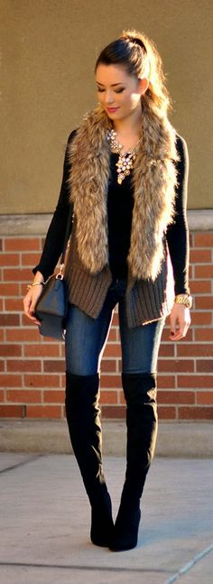 "There's something about the top half of this outfit that i love, but not sure yet. Daily New Fashion : Fall Outfit Accessories - Dakota ""Lida Vest + Farrah Blossom Necklace + Ivanka Trump Sarena - Hapa Time"" Fur Fashion, Love Fashion, Fashion Looks, Fashion Outfits, Womens Fashion, Fashion Trends, Street Fashion, Jeans Fashion, Fashion Fall"