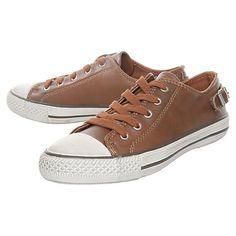 Buy Kurt Geiger Liberty Leather Low Top Buckle Heel Trainers, Brown Online at johnlewis.com
