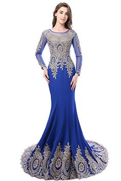 Womens 2017 Mermaid Evening Dresses With Sleeves Formal Prom Gowns Royal Blue US14 -- Want additional info? Click on the image.