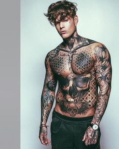 Tattoos And Body Art full body tattoo man Stomach Tattoos, Neck Tattoos, Body Art Tattoos, Girl Tattoos, Tattoos For Guys, Full Body Tattoos, Chest Tattoos For Men, Tatoos Men, Tattoo Women