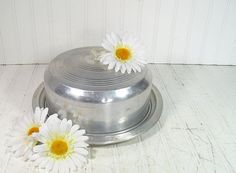 Mid Century Round Cake Carrier  Vintage Aluminum 2 by DivineOrders, $12.00