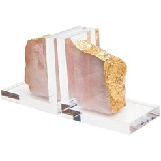 Times Two Design Acrylic Bookends With Minerals Rose Quartz Lr506 (£410) ❤ liked on Polyvore featuring home, home decor, small item storage, bookends, acrylic bookends and rose quartz bookends