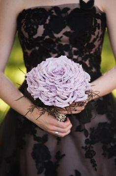 A lavender composite bouquet and a chic black wedding dress for a Parisian Gothic Wedding Inspiration