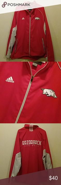 Adidas Razorback Red Jacket EUC. Razorback embroidered. Climaproof. Water resistant. Adjustable at the bottom of the jacket. Adjustable at the bottom of the arms as well. Razorback Football on the back. Makes a great gift as well. Machine washable. Small pen mark by the adidas embroidered part, not noticeable once on.(see picture) 💕 adidas Jackets & Coats Performance Jackets