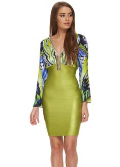 Baccio Becky Dress Lime Bandage Skirt With Crystal Jewelled Silk Top