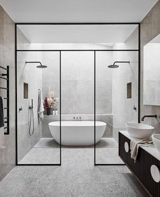 Beautiful master bathroom decor some ideas. Modern Farmhouse, Rustic Modern, Classic, light and airy bathroom design some ideas. Bathroom makeover suggestions and bathroom renovation a few ideas. Modern Small Bathrooms, Modern Bathroom Design, Bathroom Interior Design, Beautiful Bathrooms, Dream Bathrooms, Master Bathroom Designs, Contemporary Bathrooms, Minimalist Bathroom Design, Bathroom Design Layout