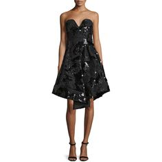 Milly Strapless Sequined Cocktail Dress ($435) ❤ liked on Polyvore featuring dresses, black, fit and flare dress, sequin fit and flare dress, fit flare dress, strapless sweetheart dress and sweetheart neckline dress