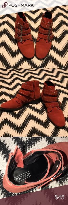 Topshop Red Suede Booties These are a sweet pair of studded booties never worn because they don't fit my feet.  They say euro 38 but I think I was supposed be a 39.  I'm an 8/8.5 so these shoes truly fit a 7/7.5.  You can wear these year-round w/skinny jeans, dresses, & shorts. Topshop Shoes Ankle Boots & Booties