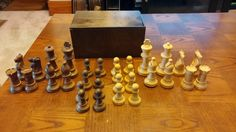 """Vintage 1973 Hand Finished Wood Chess Pieces """"Cavalier"""" by Pacific Game Company Complete in Box by TheVintageBelleShop on Etsy https://www.etsy.com/listing/227268816/vintage-1973-hand-finished-wood-chess"""