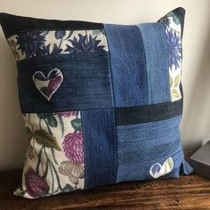 Applique Cushions, Floral Cushions, Patchwork Cushion, Colourful Cushions, Sewing Pillows, Quilted Pillow, Crazy Patchwork, Denim Patchwork, Cushion Cover Designs