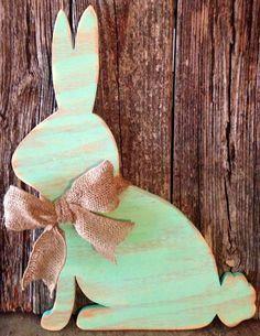 Mint distressed wood bunny rabbit wood sign