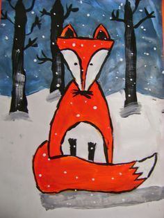 Grade Winter Fox Paintings - animal in foreground Christmas Art Projects, Winter Art Projects, School Art Projects, First Grade Art, 2nd Grade Art, Grade 3, January Art, December, Fox Painting