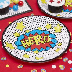 Plates | Comic Superhero Paper Plates | Superhero Party | Hero Party Plates | Quality Paper Plates | Party Supplies | The Party Darling by ThePartyDarlingLLC on Etsy