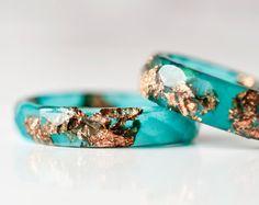 Blaue Harz-Ring mit Kupfer-Flocken dünne facettierten von Resity