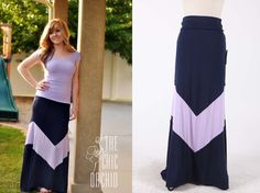 Colorblock Chevron Lilac/Navy Maxi Skirt