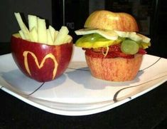 Food Art Creations - love this mcdonalds hamburger and french fries made from fruit!