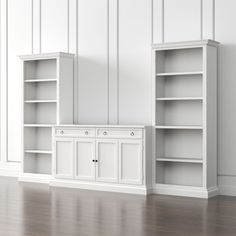 Shop Cameo 3-Piece Modular White Media Entertainment Center. The four-shelf open bookcases stand alone or flank the main media storage pieces for the appearance of a custom built-in, with the hutch rising tall above the bookcases.