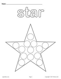 FREE Do a Dot printables. Includes a star Do a Dot printable coloring page plus 11 other shapes. Great for toddlers, preschool, and kindergarten! Get all of the shapes dot painting printables here --> http://www.mpmschoolsupplies.com/ideas/7549/12-free-shapes-do-a-dot-printables/