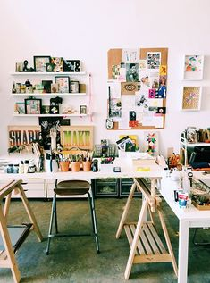 Studio space with lots of inspirational art. Studio Tour with Lisa Congdon / sfgirlbybay Art Studio Organization, My Art Studio, Dream Studio, Studio Design, Studio Ideas, Workspace Inspiration, Space Crafts, My New Room, Creative Studio