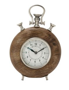 40698 Wood Metal Table Clock