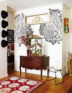 wall decal on either side of work/ decal wrap around corner of wall