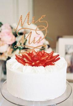 A beautiful strawberry wedding cake.