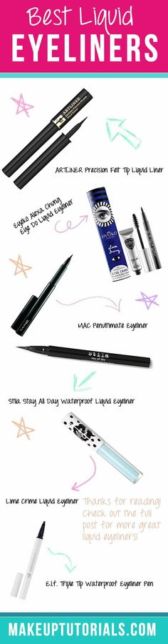 Are you learning how to put on liquid eyeliner? Looking for best liquid eyeliner? Then here best liquid eyeliners to choose from! Nyc Liquid Eyeliner, Best Liquid Liner, Best Eyeliner, Eyeliner Looks, Eyeliner Pen, How To Apply Eyeliner, Waterproof Eyeliner, Winged Eyeliner, Eyeliner Styles