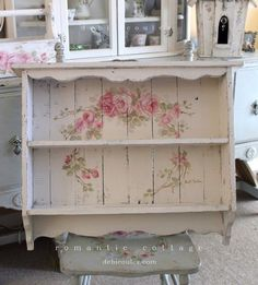 Custom Color and Decorative Shabby Chic Large Vintage Style Roses Shelf - Debi…