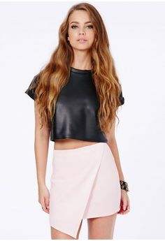 Missguided - Milagros Wrap Over Asymmetric Skirt In Baby Pink