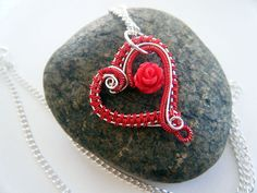 Rose Heart Necklace Wire Wrapped Valentines Day by WhimsicalMonkey