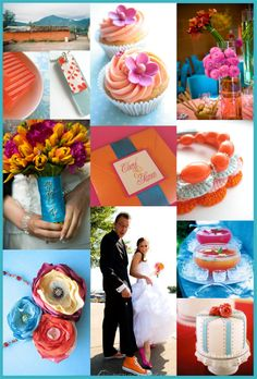 orange, blue and purple wedding board