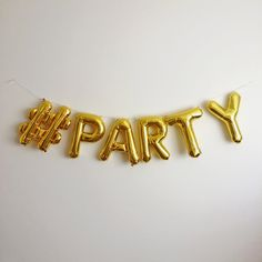 Hashtag Balloon banner 16 inch Gold Silver Pink and Blue letter & number balloons by www.stephanieshivesstudio.com