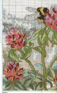 Cross stitch - fairies: Red clover fairy - Cicely Mary Barker (chart - part B1)